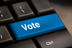 Vote button. Democracy concept with vote button on keyboard stock photos