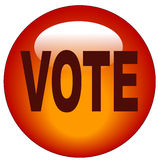 Vote button or icon. Red button or icon that says vote Stock Photography