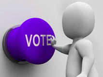 Vote Button Means Choosing Electing Or Poll. Vote Button Meaning Choosing Electing Or Poll Royalty Free Stock Images