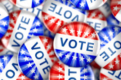 Vote button in red, white, and blue with stars Royalty Free Stock Photos