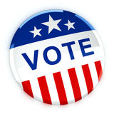 Vote button in red, white, and blue with stars. 3d rendering Royalty Free Stock Photography