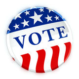 Vote button in red, white, and blue with stars. 3d rendering Stock Image