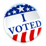 Vote button in red, white, and blue with stars. 3d rendering Stock Photos