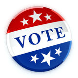 Vote button in red, white, and blue with stars. 3d rendering Stock Photography