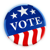 Vote button in red, white, and blue with stars. 3d rendering Royalty Free Stock Photos