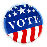 Vote button in red, white, and blue with stars. 3d rendering Stock Photo