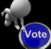 Vote Button Shows Poll Election Or Choosing. Vote Button Showing Poll Election Or Choosing Stock Image