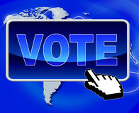 Vote Button Shows World Wide Web And Net Royalty Free Stock Image
