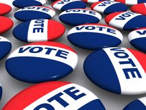 Vote buttons. Red, white and blue patriotic election vote buttons or pins stock illustration