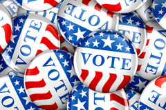 Vote buttons in red, white, and blue with stars. 3d rendering Stock Photography