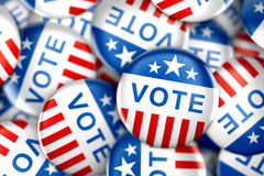 Vote buttons in red, white, and blue with stars. 3d rendering Royalty Free Stock Images