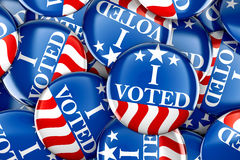 Vote buttons in red, white, and blue with stars. 3d rendering Stock Image