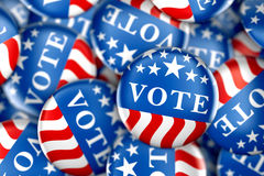 Vote buttons in red, white, and blue with stars. 3d rendering Royalty Free Stock Photo