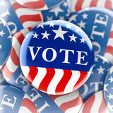 Vote buttons in red, white, and blue with stars. 3d rendering Royalty Free Stock Image