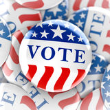 Vote buttons in red, white, and blue with stars. 3d rendering Stock Images