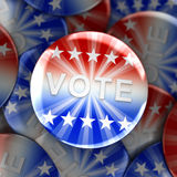 Vote buttons in red, white, and blue with stars. 3d rendering Royalty Free Stock Photography