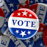 Vote buttons in red, white, and blue with stars. 3d rendering Royalty Free Stock Photos