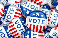 Vote buttons in red, white, and blue with stars Royalty Free Stock Photos