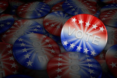 Vote buttons in red, white, and blue with stars. 3d rendering Stock Photos