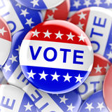 Vote buttons in red, white, and blue with stars. 3d rendering Stock Photo
