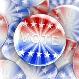 Vote buttons in red, white, and blue with stars Stock Photo