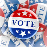 Vote buttons in red, white, and blue with stars Royalty Free Stock Photo