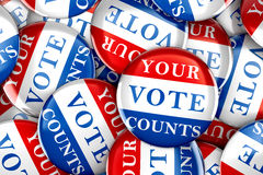 Vote buttons with Your Vote Counts Royalty Free Stock Image