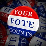 Vote buttons with Your Vote Counts Stock Photography