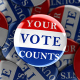 Vote buttons with Your Vote Counts. 3d rendering Stock Image