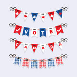 Vote Canada buntings and election garlands decoration icons set Stock Photos