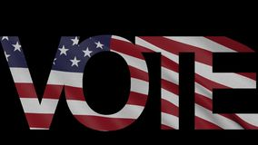 'Vote' caption and waving American flag 4K intro animation. Word 'Vote' caption and waving American flag 4K intro clip stock footage
