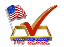 Vote Check Box 3D with American Flag. 3D Illustration of check in box for Election Day 2008 Vote or clip art vector illustration