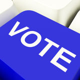 Vote Computer Key In Blue Stock Photos