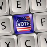 Vote Concept. Computer Keyboard with voting key, U.S. presidential election, vector illustration Stock Photos