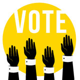 Vote concept illustration.People voting.Hands raised up, retro flat style design.Hands holding up, letters VOTE.  Royalty Free Stock Photography