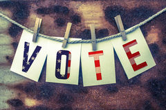 Vote Concept Pinned Cards and Rust Royalty Free Stock Photography