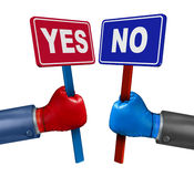 Vote Conflict. Concept as a competition between two opposing rivals wearing boxing gloves and holding yes or no signs fighting and campaigning to change stock illustration