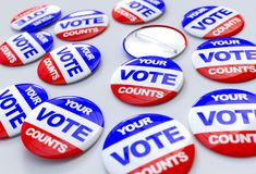 Vote counts american badges Royalty Free Stock Photography