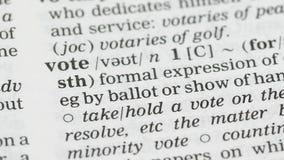 Vote, définition de mot à la page anglaise de vocabulaire, élection présidentielle, liberté banque de vidéos