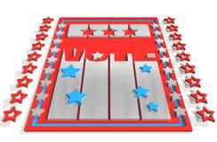 Vote 3D text on backdrop from usa flag elements Royalty Free Stock Images