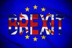 Vote de Brexit illustré par l'UE et les drapeaux BRITANNIQUES Images stock