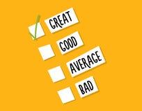 Vote de client sur la qualité d'un service, d'une acquisition ou d'une expérience Conception de fond d'illustration de vecteur Photos stock