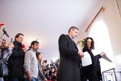 Vote de Vitali Klitschko à Kiev, Uktraine Photos stock