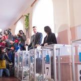 Vote de Vitali Klitschko à Kiev, Uktraine Images stock