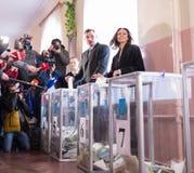 Vote de Vitali Klitschko à Kiev, Uktraine Image libre de droits