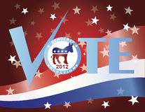 Vote Democrat Check Mark with US Flag. Vote Check Mark Text 2012 Democrat with US Flag Background Vector Illustration