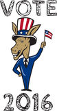 Vote 2016 Democrat Donkey Mascot Flag Cartoon. Illustration of a democrat donkey mascot of the democratic grand old party gop smiling looking to the side with Stock Photo