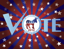 Vote Democrat Red White and Blue Stars Background. Vote Democrat 2012 Red White and Blue Stars Stripes Sun Rays Banner Illustration Stock Images