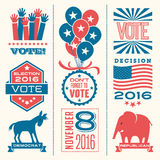 Vote design elements for 2016 election. Vote design elements 2016 election, united states Stock Image