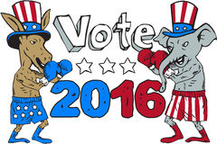Vote 2016 Donkey Boxer and Elephant Mascot Cartoon Stock Photo